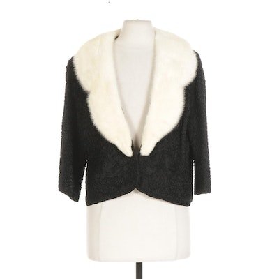 Soutache Jacket with Three-Quarter Sleeves and Platinum Mink Fur Collar, 1950s