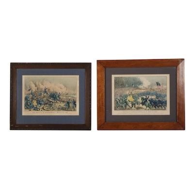 Currier & Ives Civil War Battle Hand-Colored Lithographs, Mid-Late 19th Century