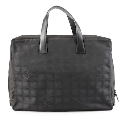 Chanel New Travel Line Zip-Around Briefcase in Black Nylon Jacquard and Leather