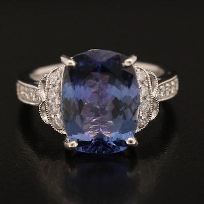 Platinum 5.84 CT Tanzanite and Diamond Ring