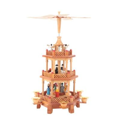 Lillian Vernon Three-Tier Wooden Christmas Pyramid, Mid to Late 20th Century