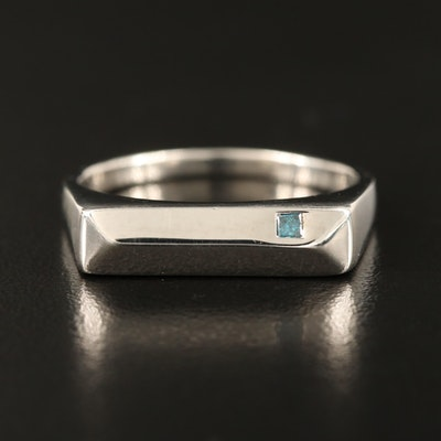 Sterling Diamond Bar Ring