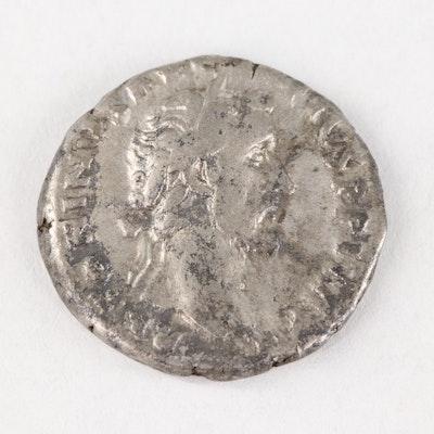 Ancient Roman Denarius of Antoninus Pius, 159–160 AD