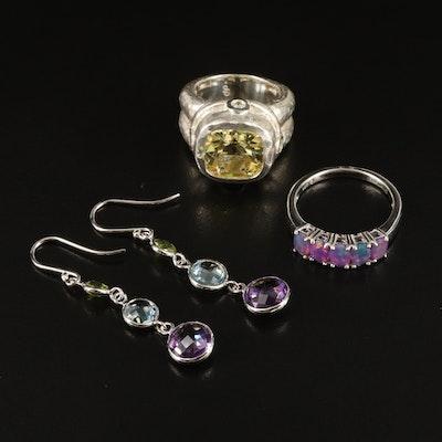 Sterling Gemstone Rings and Earrings Including SeidenGang