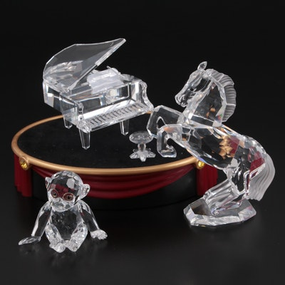 """Swarovski """"Chimpanzee,"""" """"Grand Piano with Stool"""" and Other Crystal Figurines"""