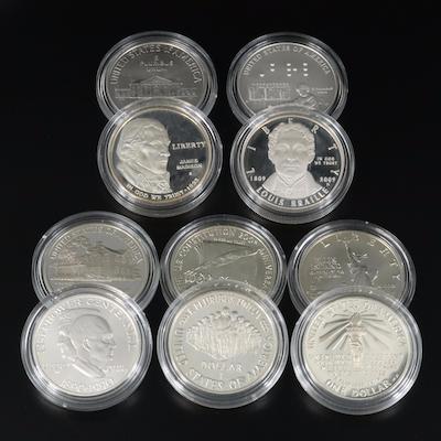 Ten U.S. Commemorative Silver Dollars