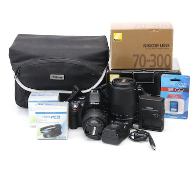 Nikon DSLR Camera with Zoom, Wide Angle Lenses, Case, Filter, Accessories