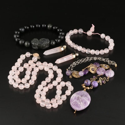 Necklaces, Bracelets and Earrings Including Rose Quartz, and Amethyst