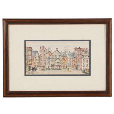 Hand-Colored Lithograph After M.B. Frey of Street View, Late 20th Century