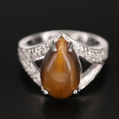 Sterling Silver Tiger's Eye and Topaz Ring