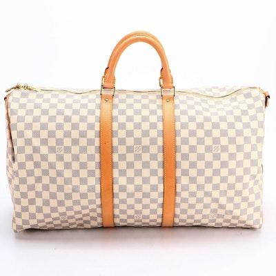 Louis Vuitton Keepall 55 Bandoulière in Damier Azur Canvas and Vachetta Leather