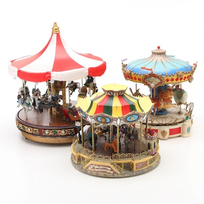 Enesco, Mr. Christmas and Lemax Musical Carousels