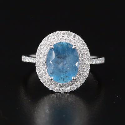 18K Aquamarine and Double Diamond Halo Ring