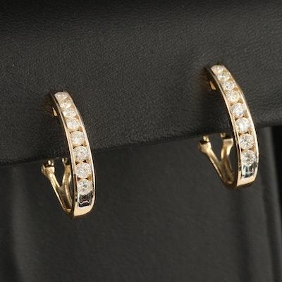 10K 0.97 CTW Diamond Channel J Hoop Earrings