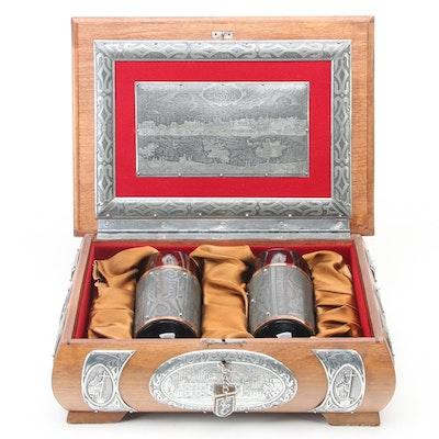Polish Oak and Silver Toned Metal Drinking Glass Box