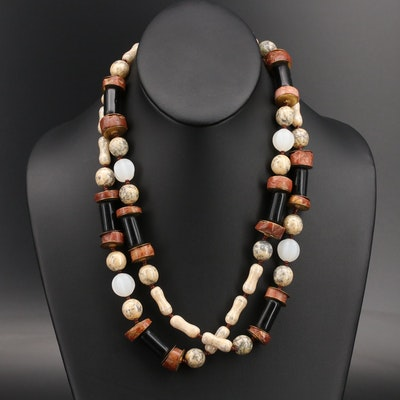 Miriam Haskell Jasper, Onyx and Glass Beaded Necklace