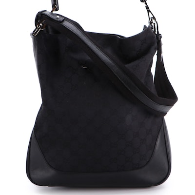 Gucci Bamboo Black GG Canvas and Leather Two-Way Shoulder Bag