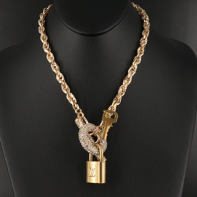 Rope Necklace with Glass Accents and Louis Vuitton Paddlock