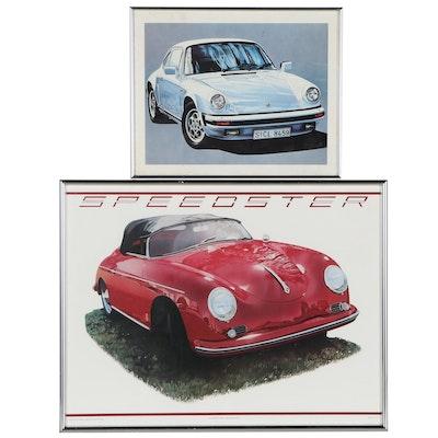 Porsche-Themed Offset Lithographs Including '55 Speedster
