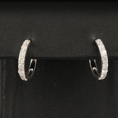 14K 1.12 CTW Diamond Hoop Earrings