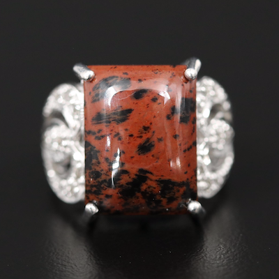 Sterling Mahogony Obsidian and Topaz Statement Ring