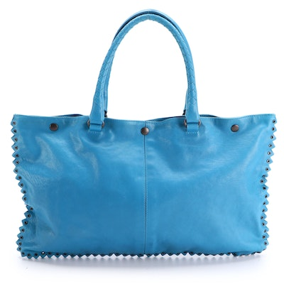 Bottega Veneta Blue Leather Tote with Woven and Grommet Detailing
