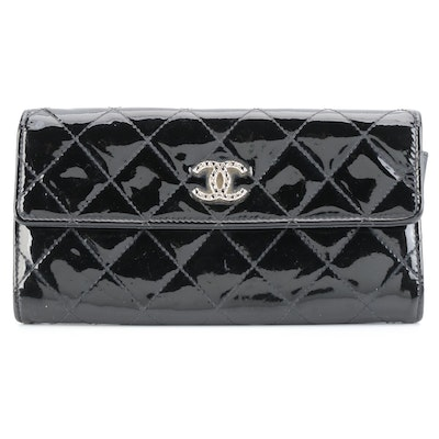 Chanel Brilliant CC Continental Wallet in Black Quilted Patent Leather