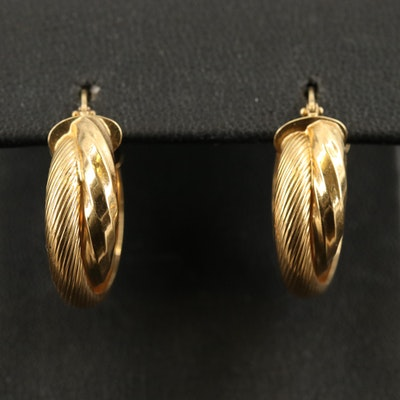 Italian 18K Fluted Hoop Earrings