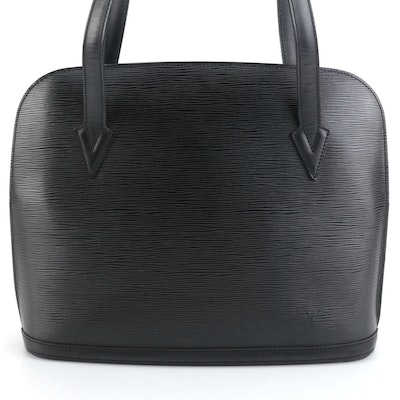 Louis Vuitton Lussac Handbag in Black Epi and Smooth Leather