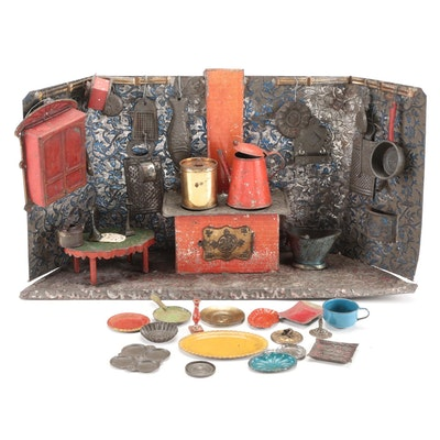 Tin Kitchen Diorama with Miniature Metal Kitchenware, late 1800s