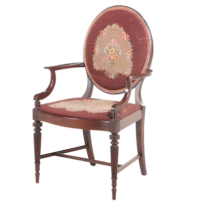 Federal Style Mahogany and Needlepoint Open Armchair, Early 20th Century