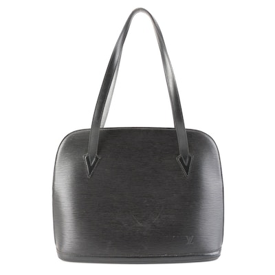 Louis Vuitton Lussac Tote in Black Epi and Smooth Leather