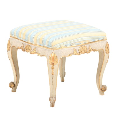 Louis XV Style Painted, Parcel-Gilt, and Custom-Upholstered Tabouret