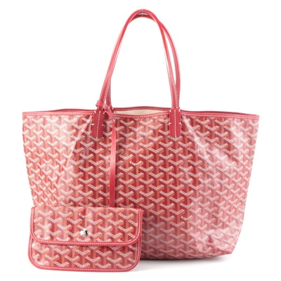 Goyard St. Louis PM Tote and Pouch in Red Goyardine Coated Canvas