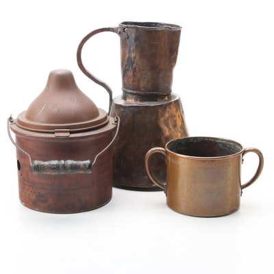 Copper Wax Melting Pot with Rustic Copper Pitcher and West Bend Copper Pot
