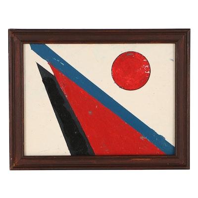 Olga Imayeva Gribanova Constructivist Style Acrylic Painting, Circa 1990
