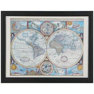 Giclée After John Speed Map of the World, 21st Century