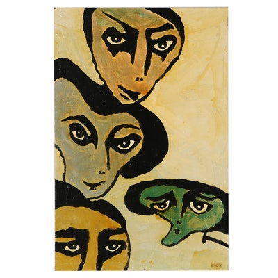 "Richard Zyne Mixed Media Painting ""The Nefarious Four,"" 2002"