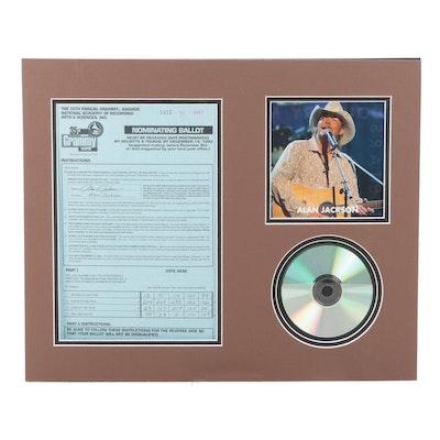 Alan Jackson Signed Matted Grammy Awards Nominating Ballot, CD and Photo Print