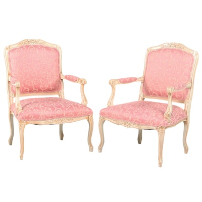 Pair of Italian Louis XV Style Painted Beech and Custom-Upholstered Fauteuils