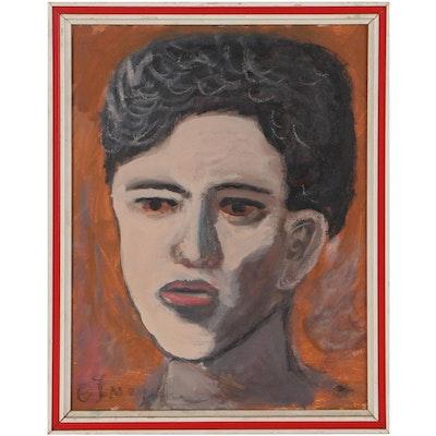 Olga Imayeva Gribanova Acrylic Portrait, Circa 2000