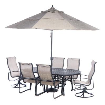 Cast Aluminum Patio Dining Set with Umbrella