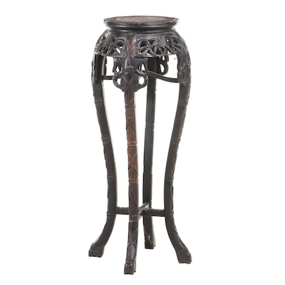 Chinese Carved Hardwood and Marble Top Pedestal, Late 19th/Early 20th Century