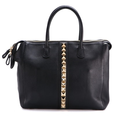 Valentino Rockstud Glam Work Bag in Black Leather