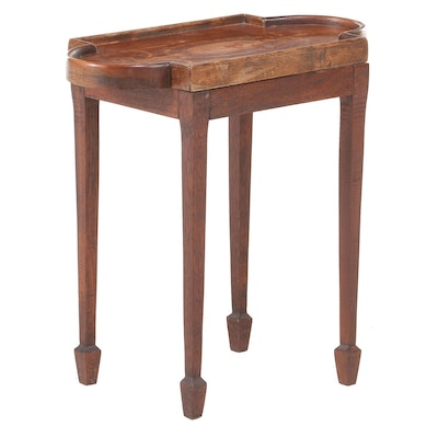 George III Style Mahogany and Marquetry Side Table, Early to Mid 20th Century