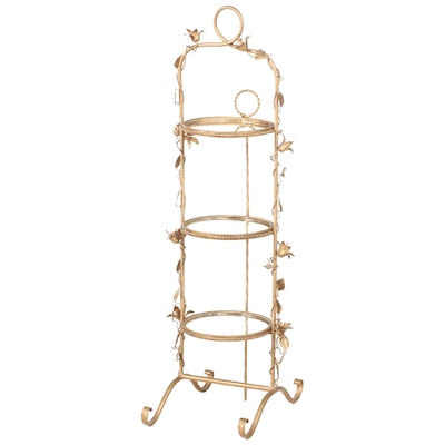Gilt Metal and Mirrored Glass Three-Tier Folding Cake Stand