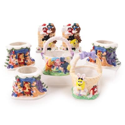 "Disney ""Winnie the Pooh"" and Mars, Inc. M&Ms Ceramic Seasonal Vases and Planters"
