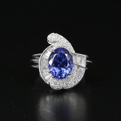 18K 3.66 CTW Tanzanite and Diamond Openwork Ring