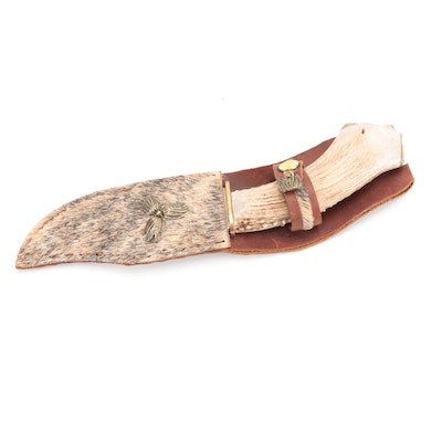 Antler Handled Skinning Knife with Leather Sheath