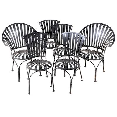 Six Sunburst Patio Chairs After Francois Carre, Vintage